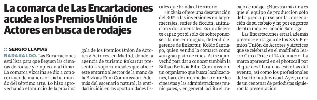 Enkarterri acude a los Premios Unión de Actores en busca de rodajes